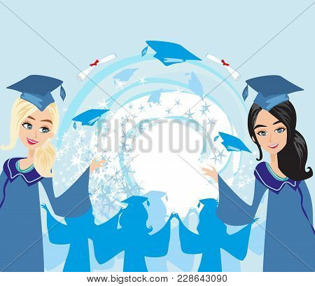 Graduation Hapy Youngs Girls Card , Vector Illustration