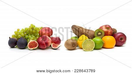 Fruit Isolated On White Background. Horizontal Photo.