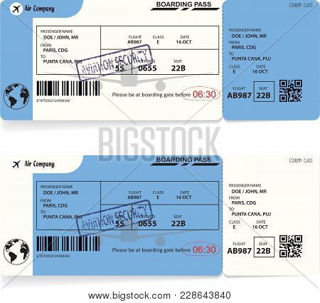 Two Variants Of Blue Boarding Pass Airplane Tickets. Vector Illustration