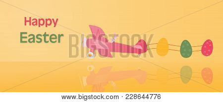 Happy Easter. Rabbit In Airplane With Easter Eggs In Trendy Colors With Text: Happy Easter.