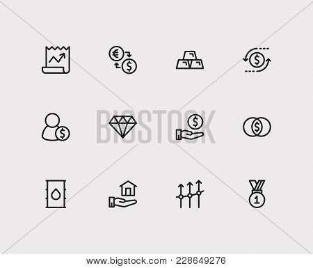 Investment Icons Set. Exchange And Investment Icons With Petroleum, Mutual Funds And Winner. Set Of