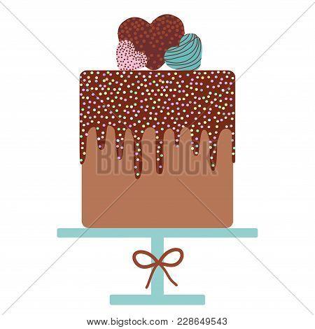 Card Design - Birthday, Valentine's Day, Wedding, Engagement. Sweet Cake, Cream Chocolate Icing Spri