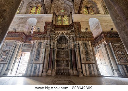Cairo, Egypt - February 3, 2018: Mausoleum Of Sultan Qalawun With Decorated Colorful Marble Niche (m
