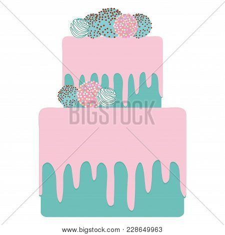 Birthday, Valentine's Day, Wedding, Engagement. Sweet Turquoise Sky Blue Cake, Strawberry Pink Cream