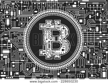 Bitcoin Digital Currency Background. Futuristic Chipset Technology Network Concept. Vector Black And