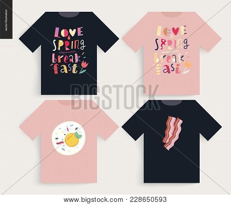 Love, Spring, Breakfast Lettering Composition - T-shirt Templates