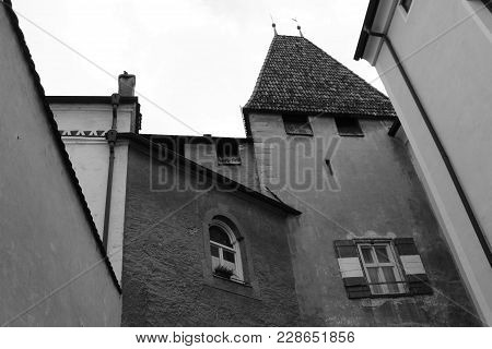Medeival Town Walls In Black And White. Old European Town Ancient Architecture