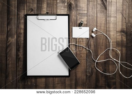 Blank Paperwork Template. Responsive Design Mockup. Clipboard, Letterhead, Smartphone, Badge And Hea
