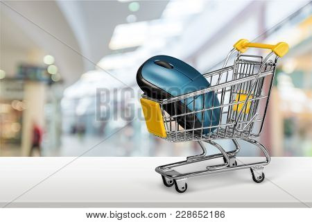 Computer Shopping Cart Mouse Color Image Red