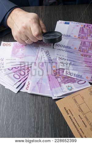Man With Glass Magnifier Analyze Euro Cash Notes. Fingerprint Card, Dactyloscopy
