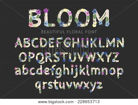 Vector Colorful Flower Font. Vector Illustration. Grotesque Style. Floral Alphabet