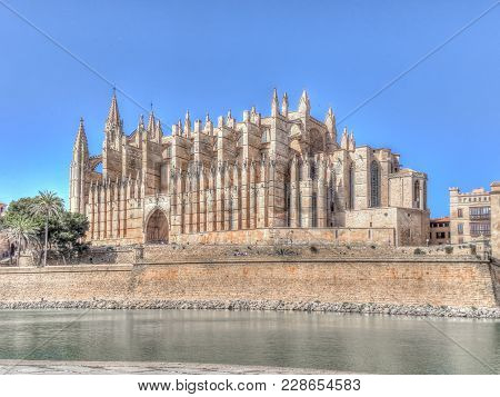 Cathedral Of Santa Maria Of Palma Against Clear Sky On Sunny Day, Majorca, Spain