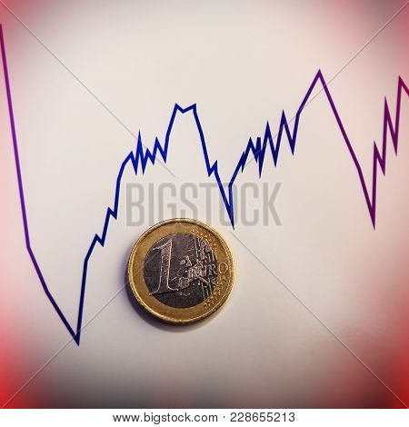 Coin One Euro Against The Currency Rate Chart. Euro Money.  Currency Of The European Union.