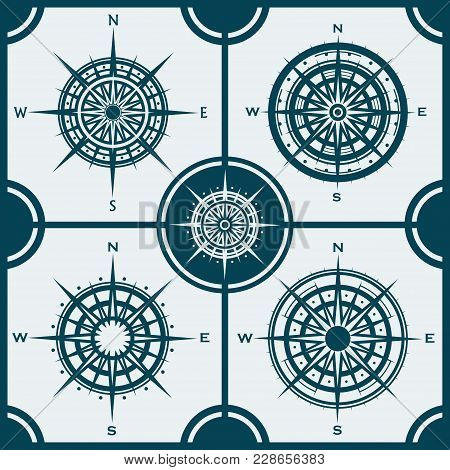 Vector Set Of Blue Isolated Compass Roses. Collection Of Different Wind Roses For Graphic Design. Ve