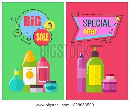 Big Sale For Toiletry Products Promotional Posters. Aromatic Shower Gels, Shampoos Of High Quality A