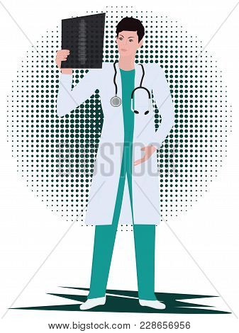 Doctor, Male, Examines An X-ray - Art Illustration Vector