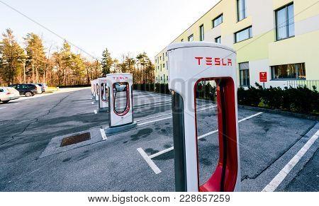 Ljubljana, Slovenia - January 23, 2018 - Tesla Supercharger charging station for recharging electric