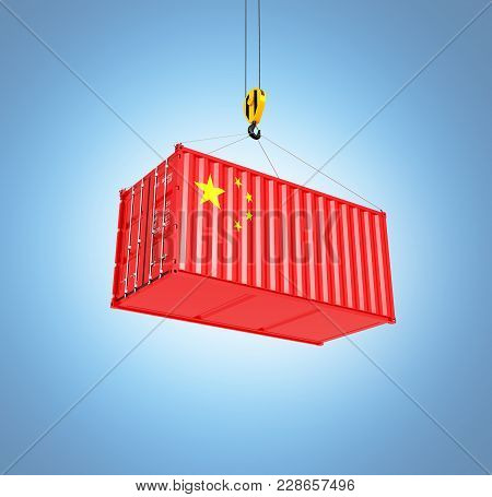 Cargo Shipping Container With The Chinese Flag Сoncept Of Delivery From China On Blue Gradient Backg