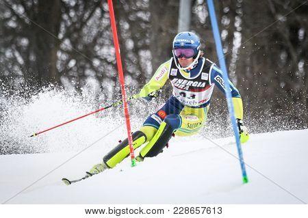 Zagreb, Croatia - January 4, 2018 : Lundbaeck Gustav Of Swe Competes During The Audi Fis Alpine Ski
