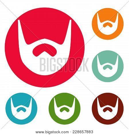 Neat Beard Icons Circle Set Vector Isolated On White Background