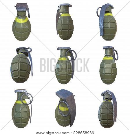 Hand Bomb Frag Grenade Set Green Metal With Scratches And Round Pin Over. 3d Render Isolated On Whit