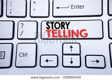 Word, Writing Storytelling. Business Concept For Teller Story Message Written On White Keyboard Key