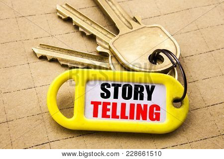 Word, Writing Storytelling. Business Concept For Teller Story Message Written On Key Holder, Close U