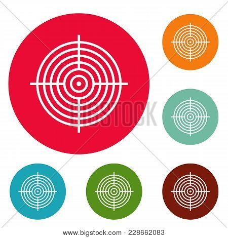 Aiming Radar Icons Circle Set Vector Isolated On White Background