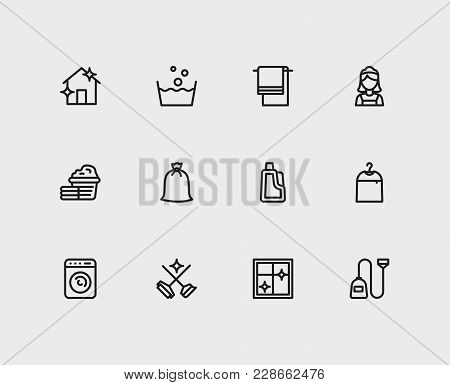 Clean Icons Set With Washer, House Cleaning And Cleaning Maid Elements. Set Of Clean Icons Also Incl