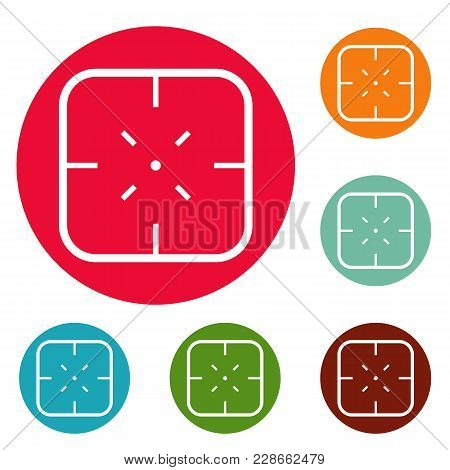 Military Objective Icons Circle Set Vector Isolated On White Background