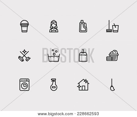 Hygiene Icons Set With Laundry, Cleaning Mop And Cleaning Maid Elements. Set Of Hygiene Icons Also I
