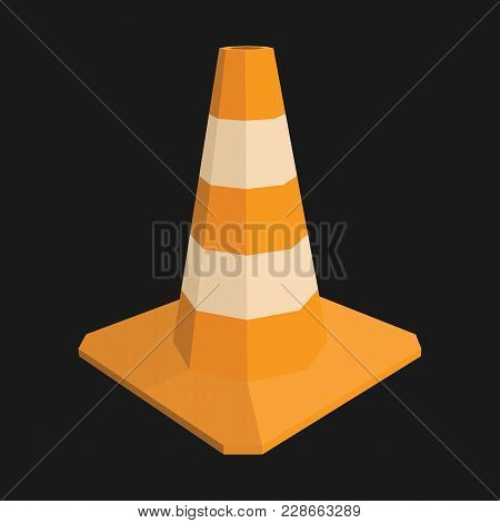 Traffic Cone. Orange Road Sign With White Stripes Vector Illustration On Black Background. Under Con