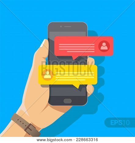 Chat Messages Notification On Smartphone Vector Illustration, Flat Cartoon Sms Bubbles On Mobile Pho