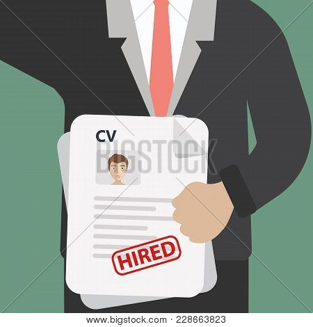 Man Holding Resume And Stamp With Approved. Happy Man Got A Job. Human Resources Management Concept,