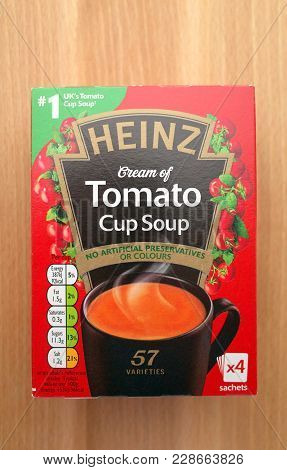 Bracknell, England - February 27, 2018: A Box Of Heinz Cream Of Tomato Cup Soup Photographed From Ab