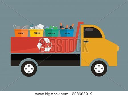 Waste Management Concept. Colored Waste Bins With Trash Standing In A Truck. Recycle Concept. Flat V