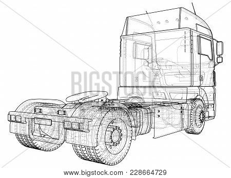Modern Cargo Truck Isolated On Grey Background. Eurotrucks Delivering Vehicle Layout For Corporate B