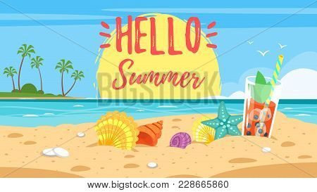 Vector Cartoon Style Hello Summer Banner. Background Of Sea Shore With Colorful Seashells And Tropic