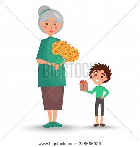 Old Woman With Grey Hair And Little Grandson Stand With Big Bouquet Of Yellow Flowers Vector Illustr