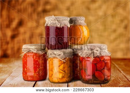 Vegetables Jars Brightly Lit Healthy Eating Canned Food Studio Isolated Storage Compartment