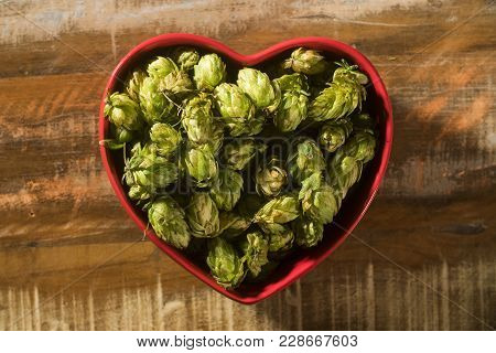 Beer Brewing Ingredients Hop Cones In Red Heart Bowl On Wooden Background. Beer Brewery Concept.