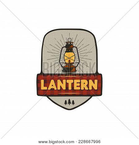 Vintage Hand Drawn Camping Logo With Lantern. Retro Style Camping Logo. Outdoor Adventure Badge Desi
