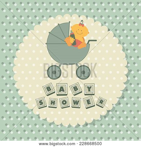 Baby Shower Poster. Baby In A Carriage. Flat Vector Illustration.