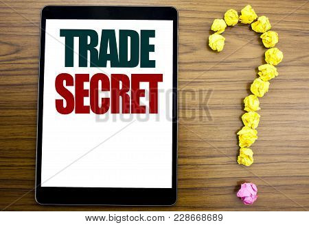 Word, Writing Trade Secret. Business Concept For Data Protection Written On Tablet, Background With