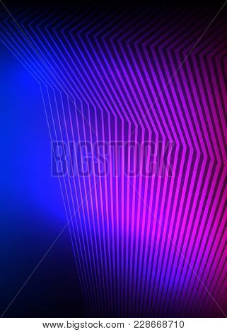 Purple Blue Abstract Background Of Bright Glow Perspective With Lighting Lines. Gorgeous Graphic Ima