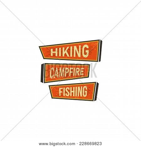 Vintage Hand Drawn Camping Signs, Travel Badges - Hiking, Campfire, Fishing. Old Retro Style. Campin