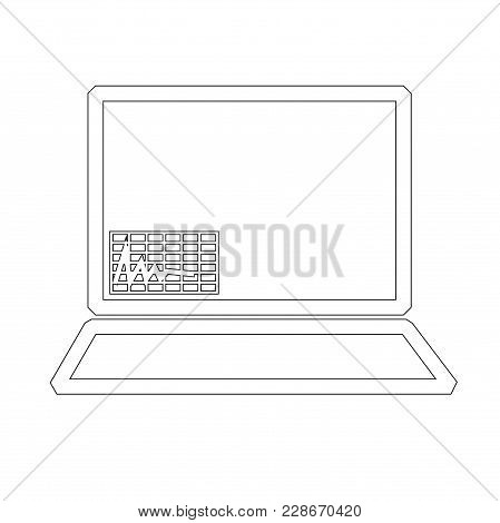 Design Elements Symbol For Editable Icon - Includes Silhouette Laptop With A Graph Of The Process Di