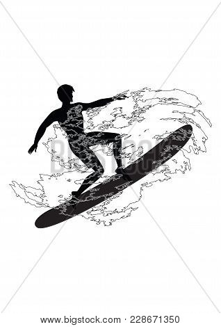 Sketch - Surfer - Man - Wave In Grunge Style - Isolated On White Background - Art Vector.