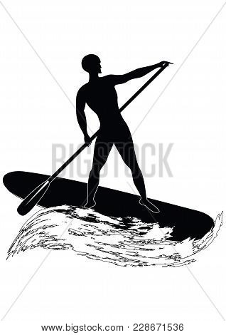 Sketch - Surfer - Man Swims On An Inflatable Board With A Paddle - Wave In Grunge Style - Isolated O