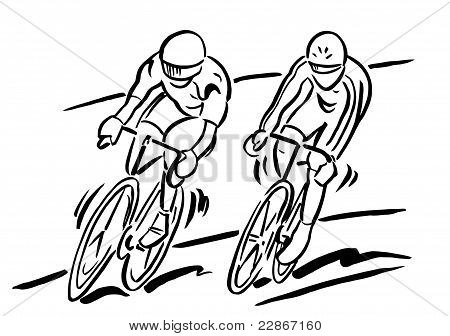 Two Cyclists in a Race